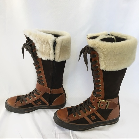 5d08a1ec969 Converse Leather Fur Trim Sneaker Boots